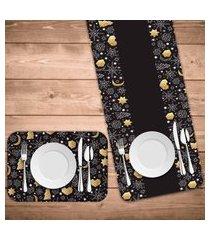 jogo americano com caminho de mesa espirito natalino escandinavo kit com 2 pçs + 2 trilhos