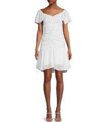 4si3nna women's marley polka-dot ruched a-line dress - white black - size m