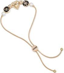 guess gold-tone pave, imitation pearl & jet logo heart slider bracelet
