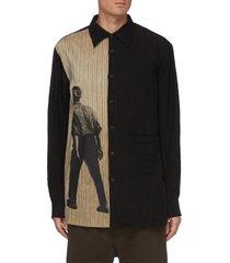 graphic print panel linen shirt