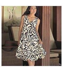 batik cotton dress, 'balinese shadow' (indonesia)