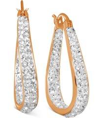 essentials crystal in & out teardrop drop earrings in rose gold-plate