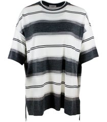 brunello cucinelli oversized sweater with stripes and lurex in wool and cashmere