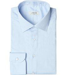 camicia da uomo su misura, canclini, azzurra spigata, quattro stagioni | lanieri