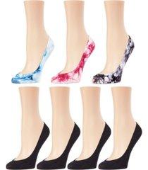 women's tie dye solid micro mesh liner socks 7-pack