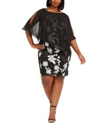 connected plus size embroidered chiffon overlay dress