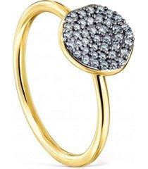 anillo pequeño nenufar de plata vermeil dorado y diamantes tous