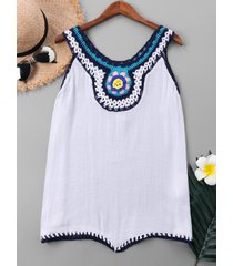 sleeveless crochet panel cover up