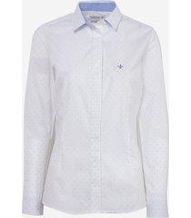 camisa dudalina manga longa tricoline fio tinto poa feminina (estampado, 46)