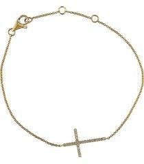 effy women's pavé classica 14k yellow gold & diamond cross bracelet