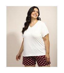 pijama feminino plus size com estampa de poá manga curta vinho