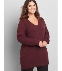 lane bryant women's long-sleeve v-neck sweater 18/20 winetasting
