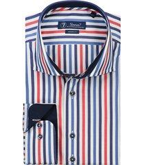 sleeve7 overhemd wit streep rood blauw