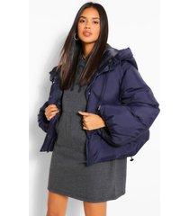 oversized gewatteerde jas met capuchon en grote mouwen, marineblauw