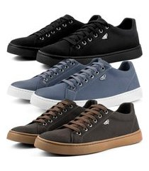 kit 3 pares de sapatênis casual skateboard dhl masculino