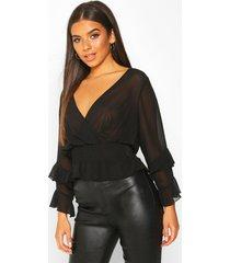 woven chiffon ruffle detail blouse, black