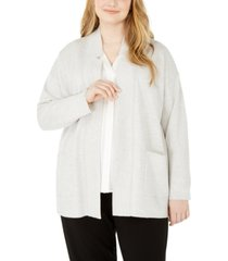 eileen fisher plus size notched-collar cardigan