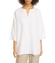 women's eileen fisher split neck dolman sleeve organic linen tunic