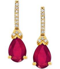 certified ruby (3/8 ct. t.w.) & diamond accent drop earrings in 14k gold