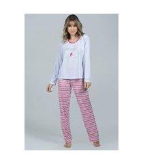 pijama feminino longo bella fiore modas inverno mommy branco