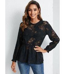 blusa de manga larga con cuello redondo de encaje negro yoins