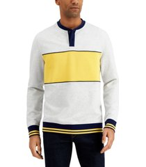 club room men's colorblocked henley sweatshirt, created for macy's