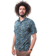 camisa andy roll clothing kashimir safira azul. - kanui