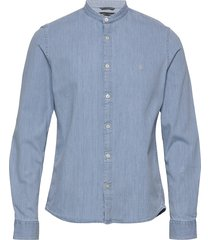 band collar,long sleeve, denim styl skjorta casual blå marc o'polo