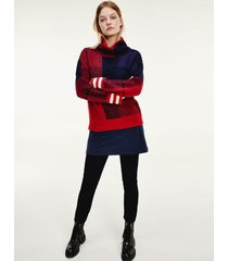 tommy hilfiger women's icon check sweater icon check red/blue - xs