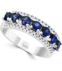 lali jewels sapphire (1-1/3 ct. t.w.) & diamond (1/3 ct. t.w.) ring in 14k white gold