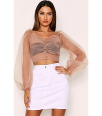 organza button front sheer blouse, taupe