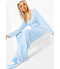 baggy jumbo geribbelde wide leg jumpsuit, light blue