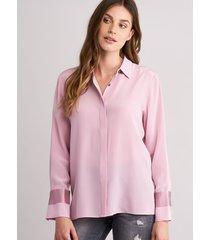 zijden blouse met blinde knoopsluiting