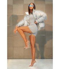 reflecterende gewatteerde camo jas met hoge kraag, silver