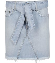 light blue cotton denim skirt