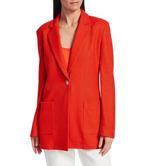 st. john women's diagonal twill knit jacket - geranium - size 12