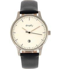 simplify quartz the 4300 silver case, genuine black leather watch 42mm
