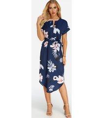 azul marino, corbata, estampado floral al azar, cuello en v, mangas cortas vestido
