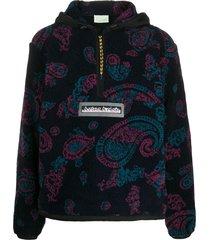 aries paisley patterned textured hoodie - blue