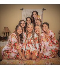 floral satin bridal robes - silk floral robe - dressing gown - bridesmaid robes-