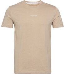 micro branding essential ss tee t-shirts short-sleeved beige calvin klein jeans