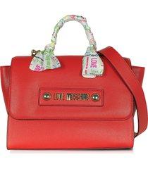 love moschino designer handbags, red eco-leather satchel w/signature scarf