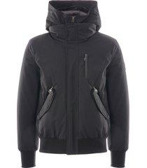 mackage dixon down bomber jacket removable hooded bib | black | mckdix-blk
