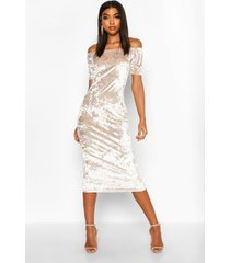 tall crushed velvet bardot midi dress, champagne