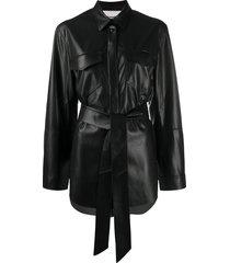 nanushka belted long-sleeve shirt - black