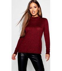 petite high neck soft knit side split tunic top, wine