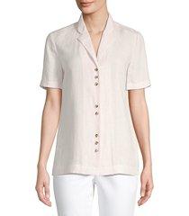 lafayette 148 new york women's bourne linen blouse - almond melange - size s