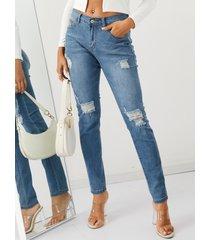 blue random ripped details jeans