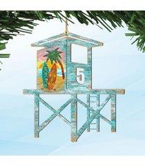 designocracy beach lifeguard tower wooden ornaments, set of 2