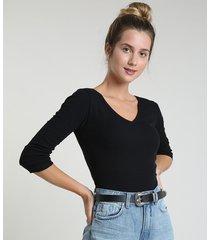 blusa feminina canelada manga longa decote v preta